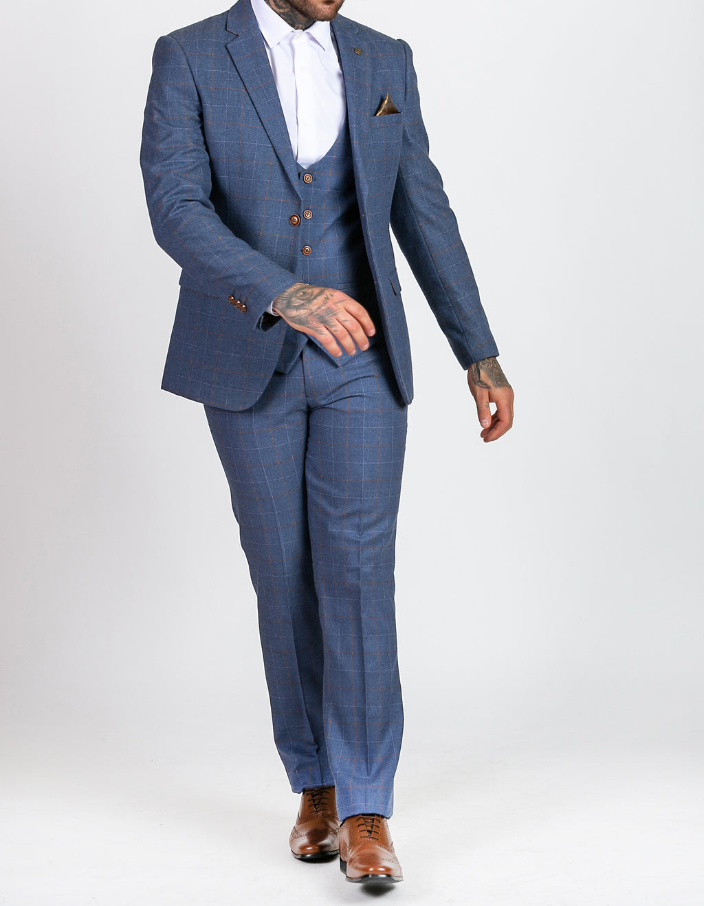 Marc Darcy Matthew Sky Blue Tweed Check Three Piece Suit