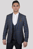 Marc Darcy Roman Blue Windowpane Check Blazer