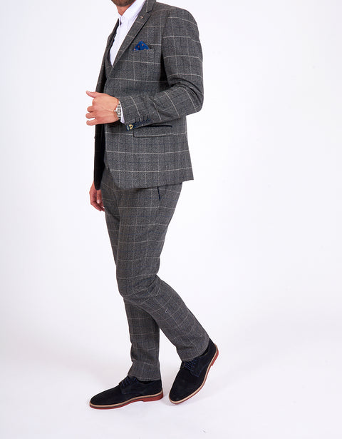 Marc Darcy Scott Grey Checked Tweed Three Piece Suit