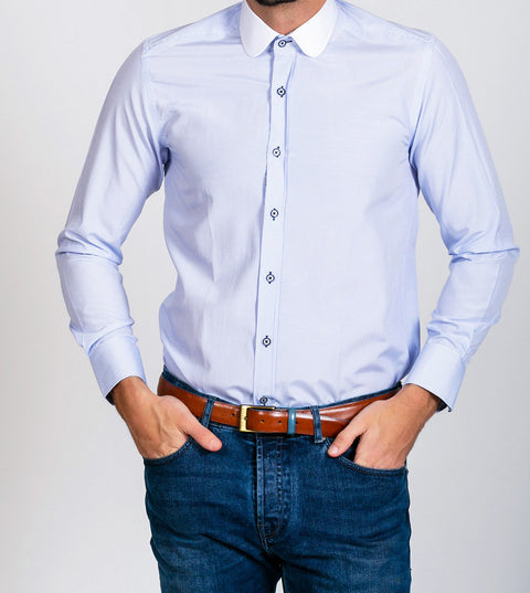 Marc Darcy Shelby Sky Blue Stripe Penny Collar shirt