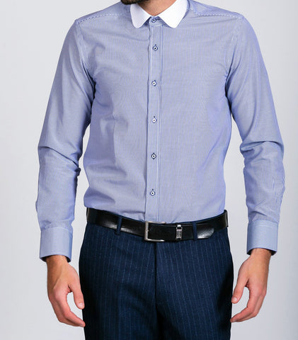 Marc Darcy Shelby Navy Blue Stripe Penny Collar shirt