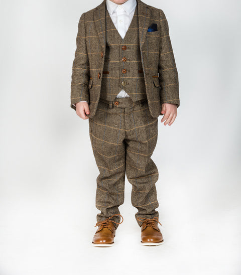 Marc Darcy Ted Tan Tonal Check Tweed Three Piece