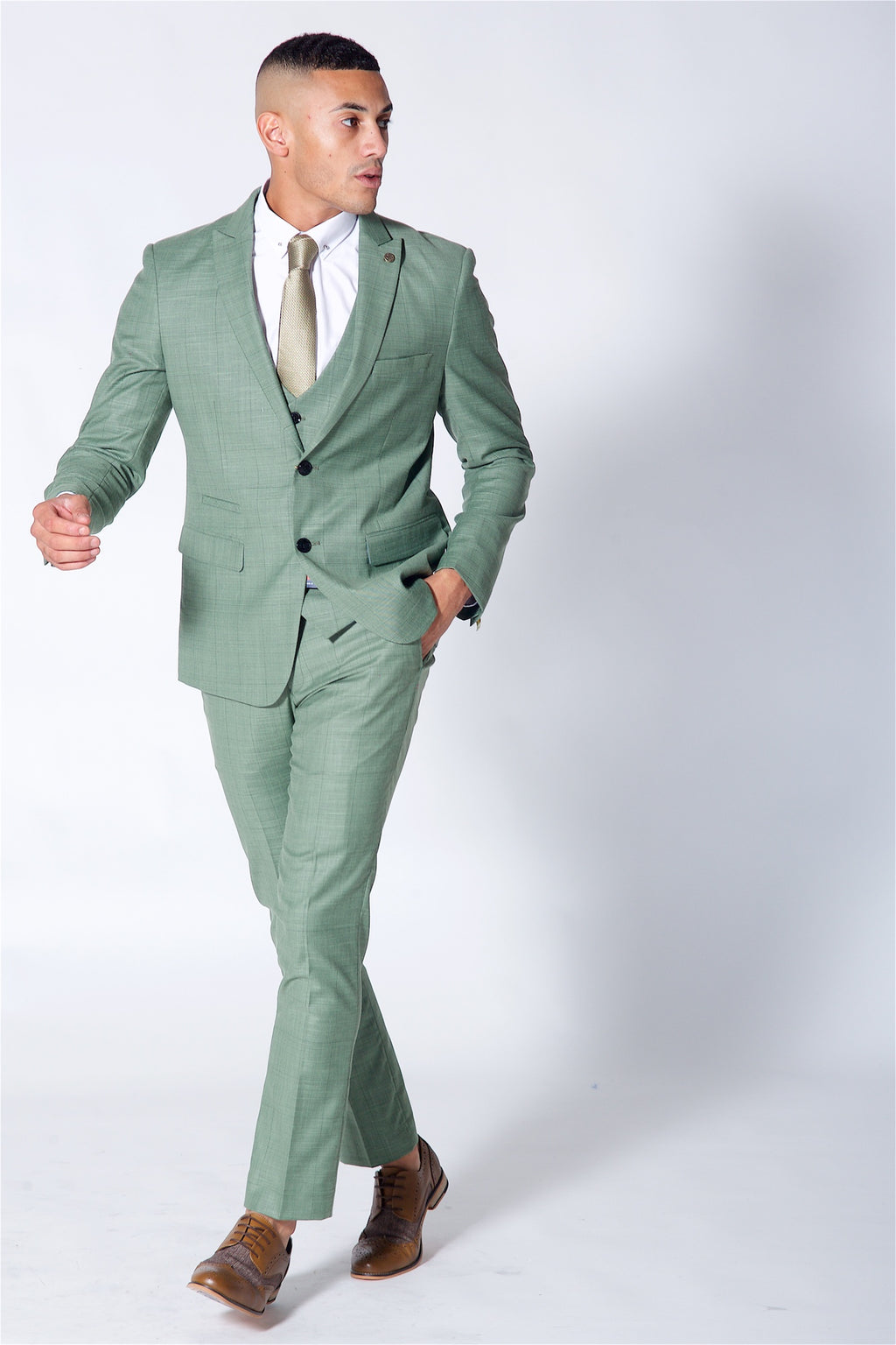 Marc Darcy Sid Moss Green Three Piece Checked Suit
