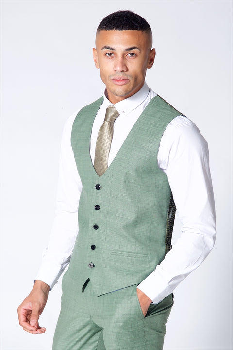 Marc Darcy Sid Moss Green Single Breasted Waistcoat