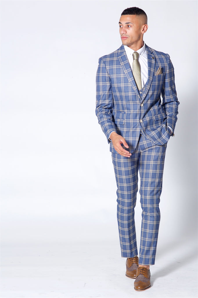 Marc Darcy Tony Blue check Three Piece suit