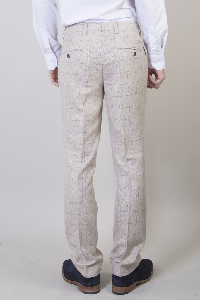 Marc Darcy Harding Cream checked tweed Trousers