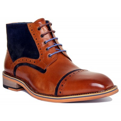 Justin Reece Brown Leather Boots With Navy Suede Detailing