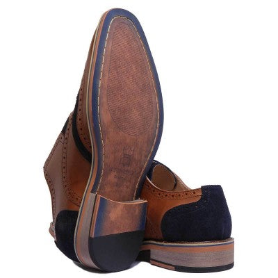 Justin Reece Brown Leather Brogues with Navy Suede Detailing