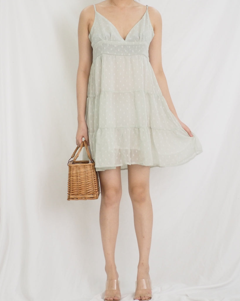 Emily Dress (GREEN SWISS DOTS)