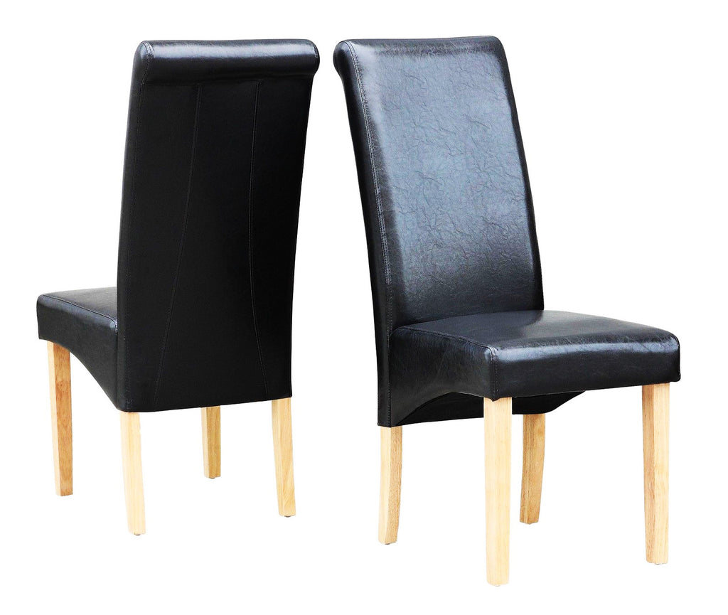 faux leather dining chair setjet black – bargainfever - faux leather dining chair setjet black