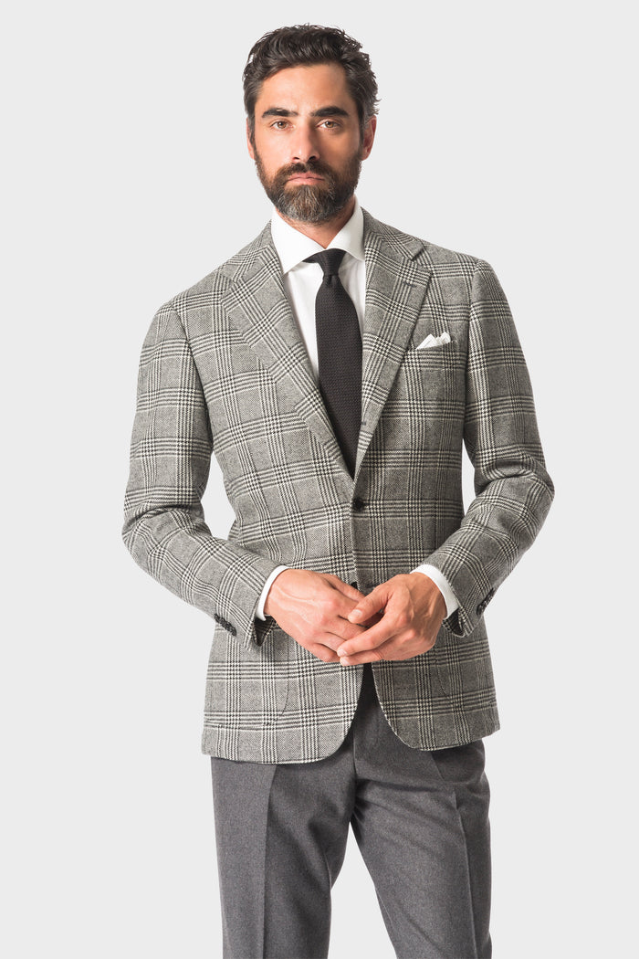 Grey Plaid 'Balloon' Jacket