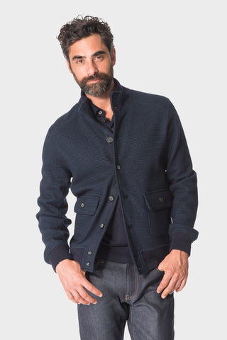 Navy Houndstooth A-1 Blouson
