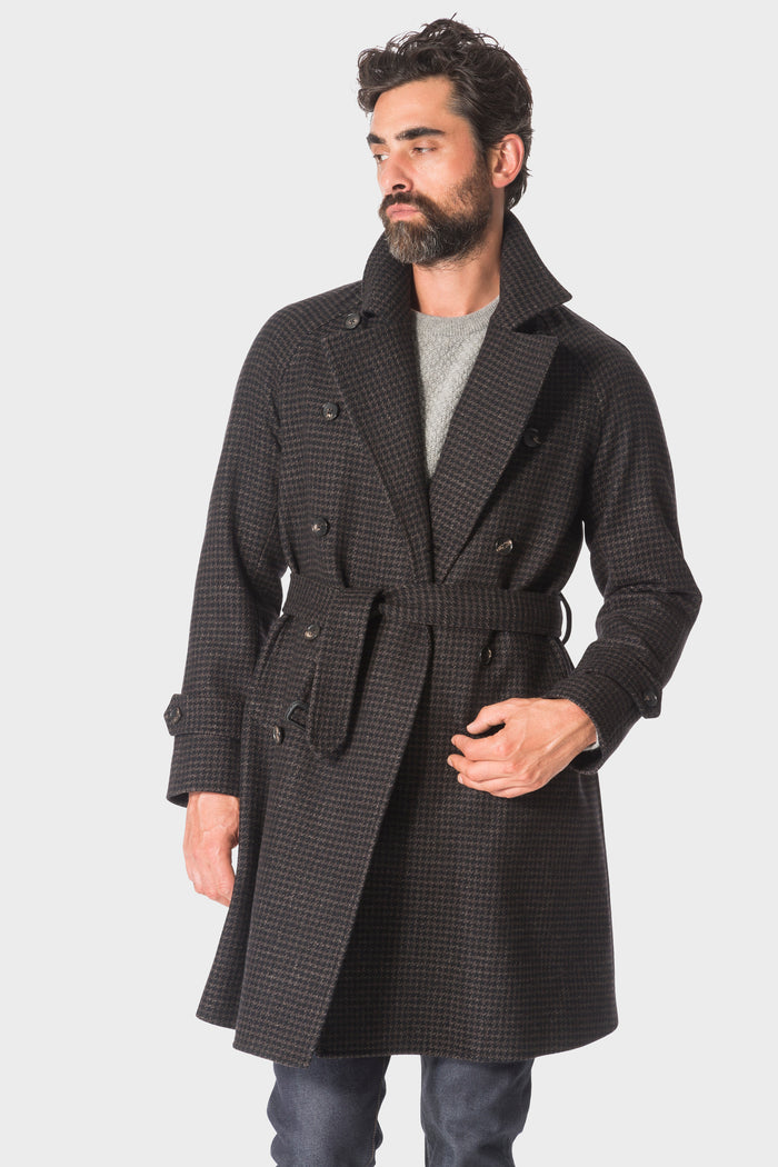 Brown Houndstooth Raglan Overcoat