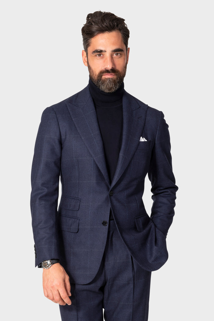 Navy Tonal Plaid 'Calm Twist' Suit