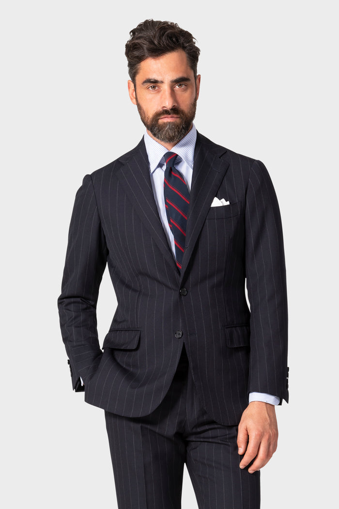 Navy Chalk Stripe 'Traveler' Suit