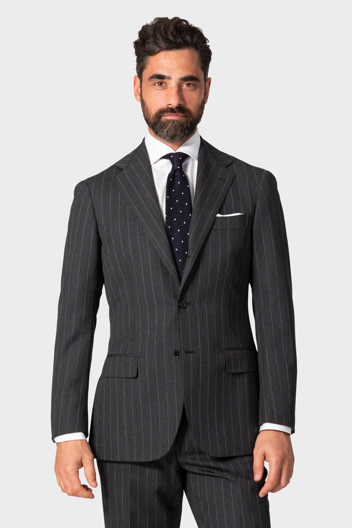 Grey Chalk Stripe 'Traveler' Suit