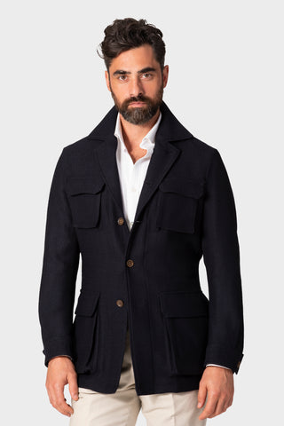 Navy 'Balloon' Safari Jacket