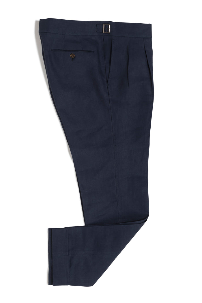 Navy Linen Gurkha Trousers