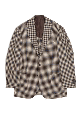 Brown, Tan, & Blue Gunclub Check Wool/Silk/Linen Jacket