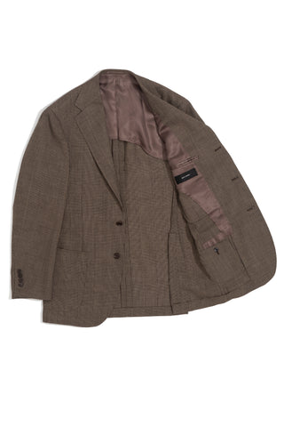 Brown Prince of Wales Check 'Balloon' Jacket