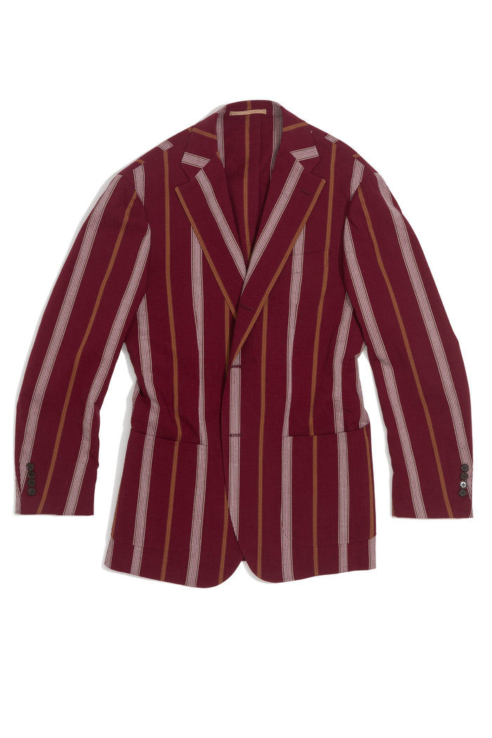 Cherry Boating Stripe Seersucker 'Balloon' Jacket