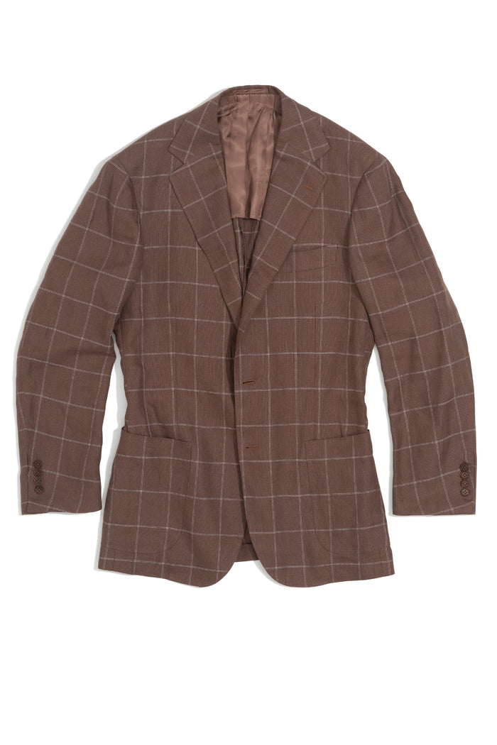Brown & Cream Windowpane Linen Jacket