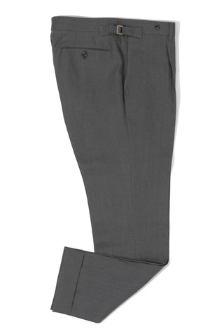 Grey Linen Single Pleat Trouser