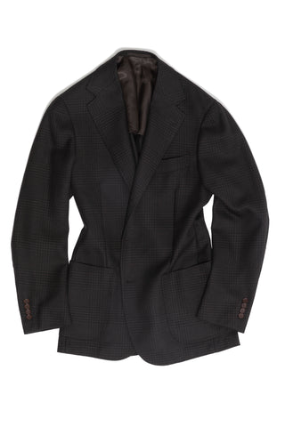 Dark Brown Tonal Prince of Wales 'Balloon' Jacket