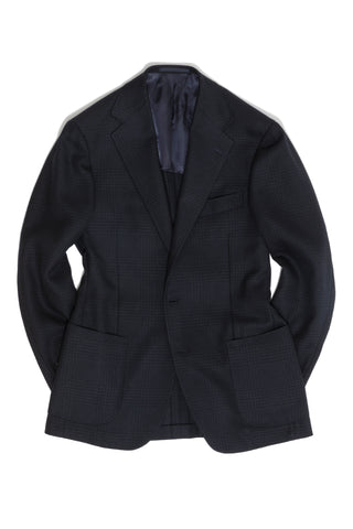 Navy Tonal Prince of Wales 'Balloon' Jacket