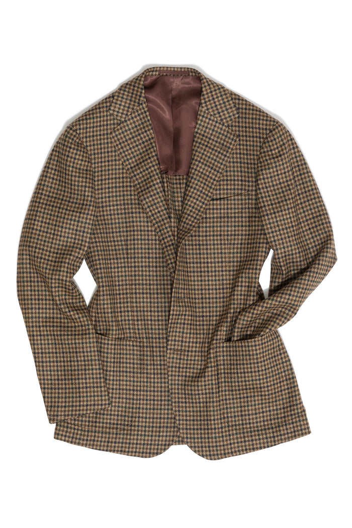 Beige, Brown, & Green Gunclub Check Wool/Cashmere Jacket