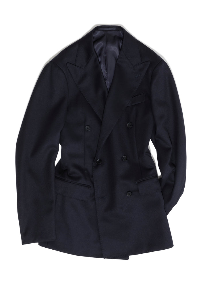 Navy Cavalry Twill 'Calm Twist' DB Jacket