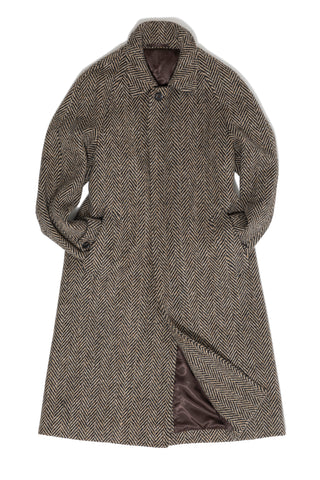 Black & Cream Herringbone Tweed Raglan Coat