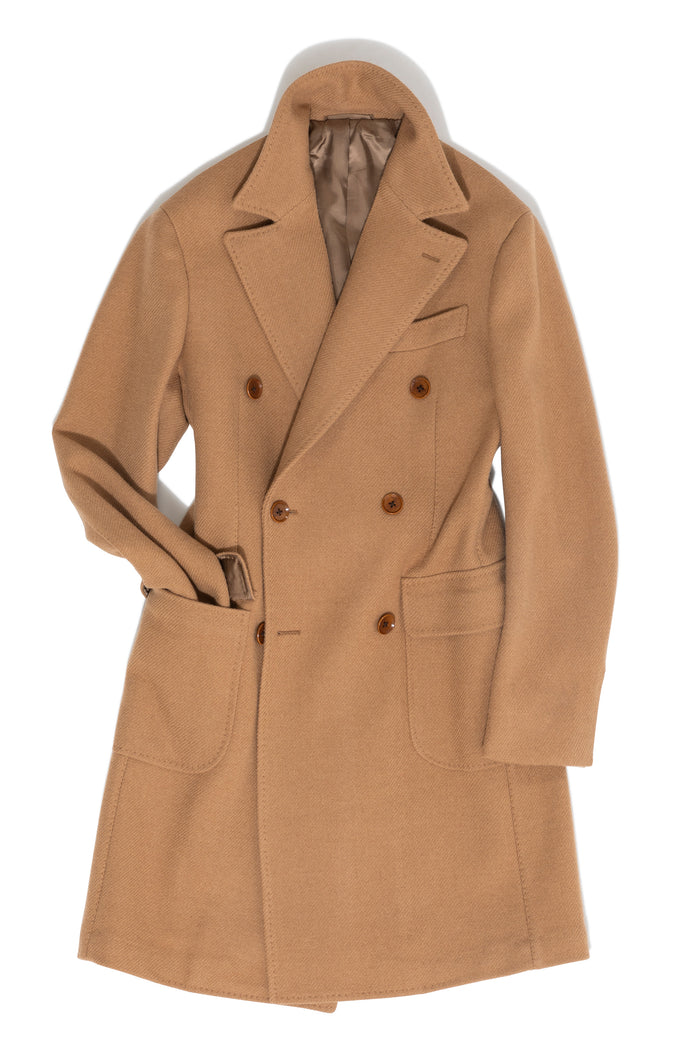 Camel Twill 'Balloon' Polo Coat