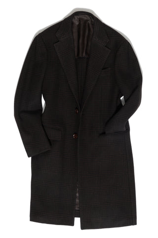 Brown Plaid 'Balloon' Overcoat