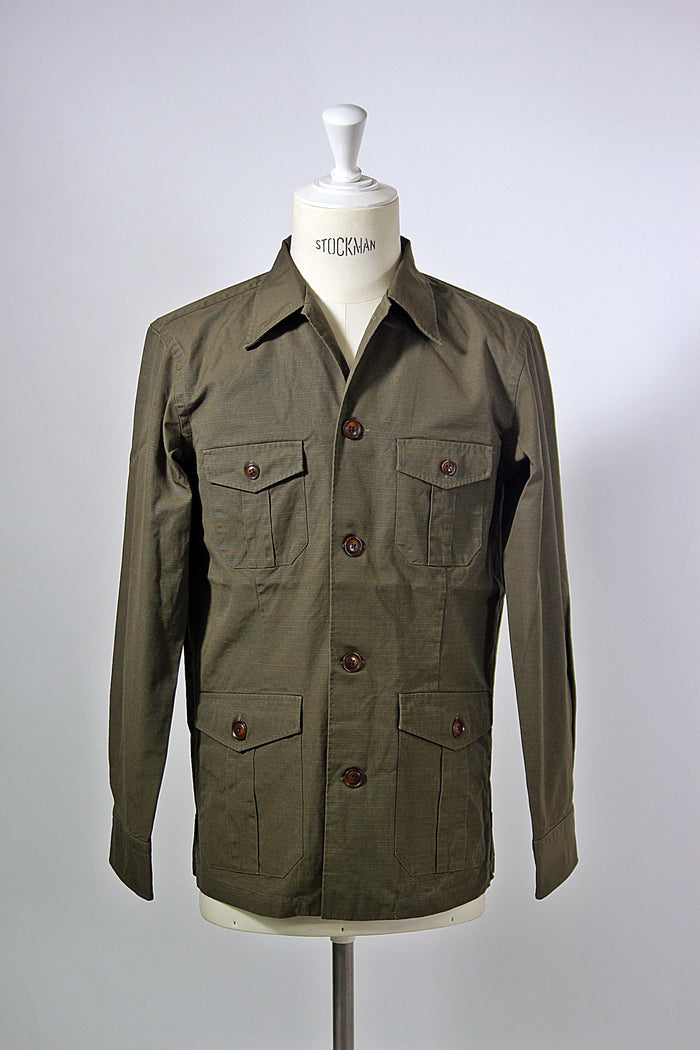 Olive Cotton Ripstop Shirt Jacket
