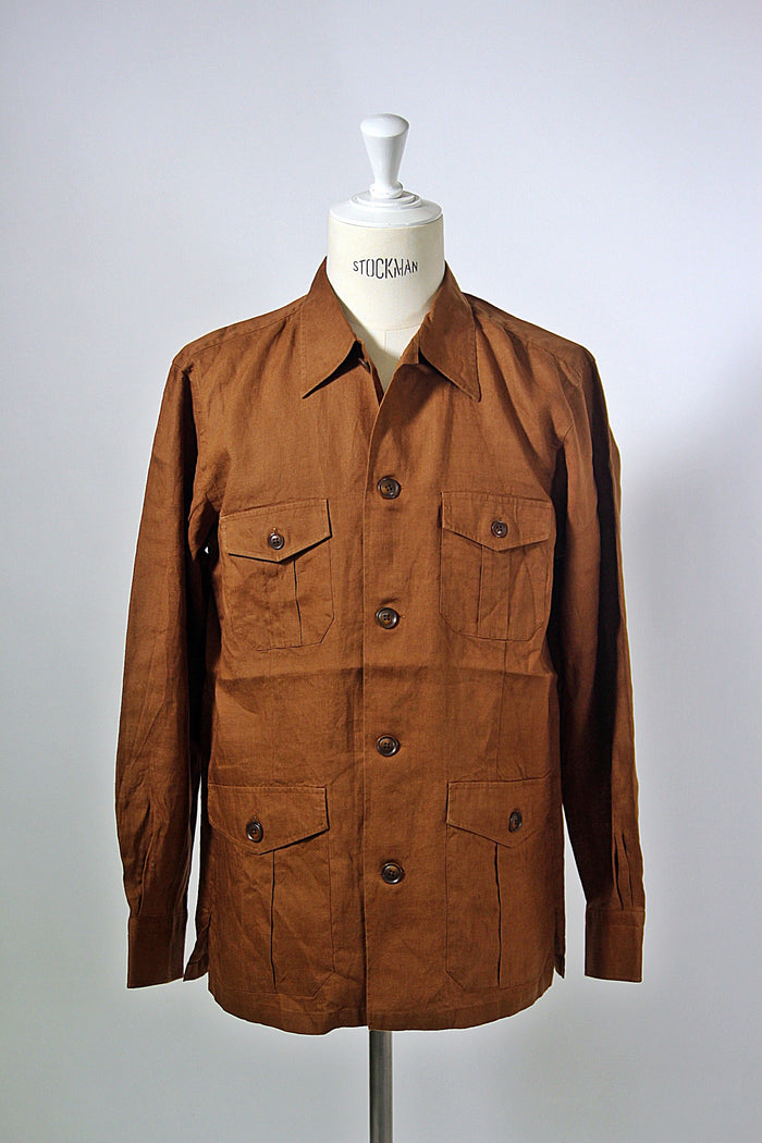 Tobacco Linen Shirt Jacket
