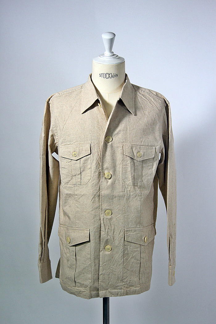 Oatmeal Cotton/Linen Shirt Jacket