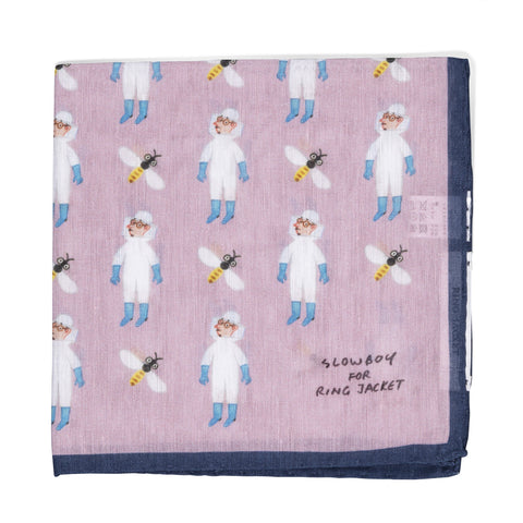 Mr. Slowboy x Ring Jacket Beekeeper Pocket Square - Pink/Navy