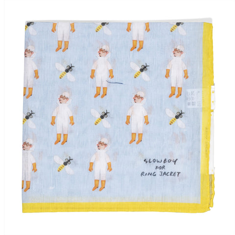Mr. Slowboy x Ring Jacket Beekeeper Pocket Square - Sky Blue/Yellow