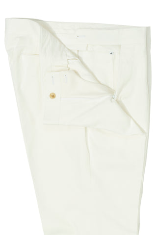 White Cotton Single Pleat Chino