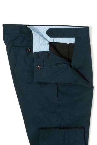 Navy Cotton Single Pleat Chino