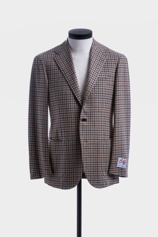 Beige & Blue Check Balloon Jacket