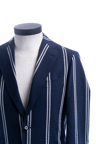 Navy Stripe Seersucker Balloon Jacket
