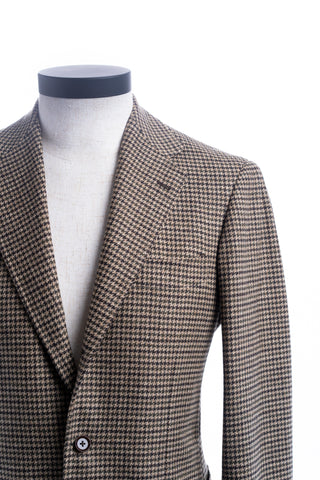 Beige, Green, & Brown Houndstooth Wool/Cashmere  Jacket