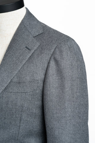 Pale Grey Shadow Check Flannel Suit