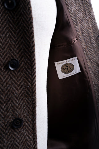 BROWN RAGLAN HERRINGBONE TWEED COAT