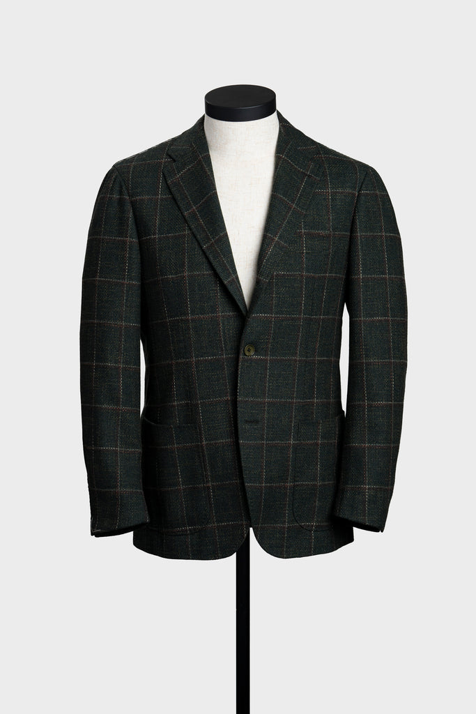 Green with Brown & White Windowpane Unconstructed Jacket