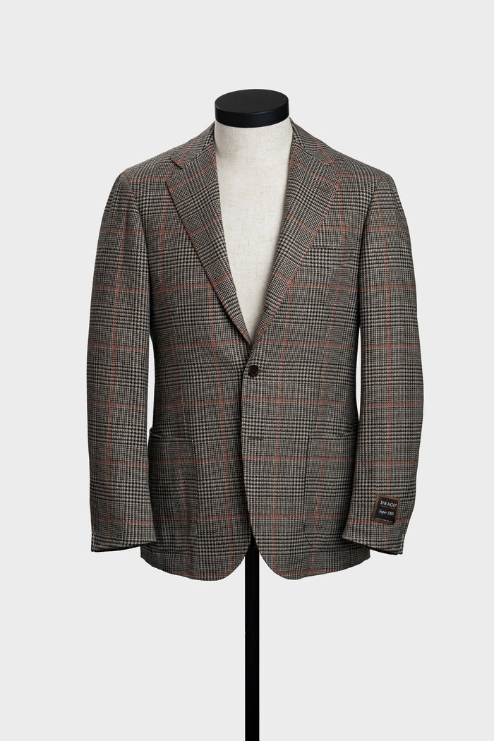 Light Brown Prince of Wales Check with Orange Windowpane Jacket