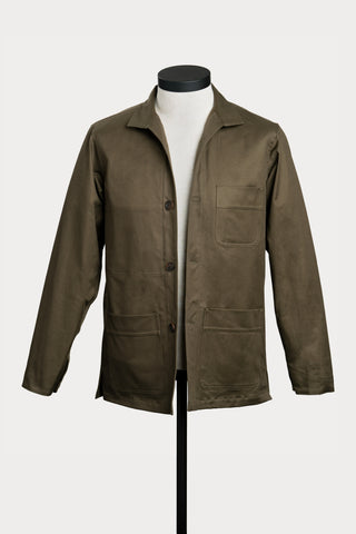 Olive Cotton Twill French Workwear Jacket