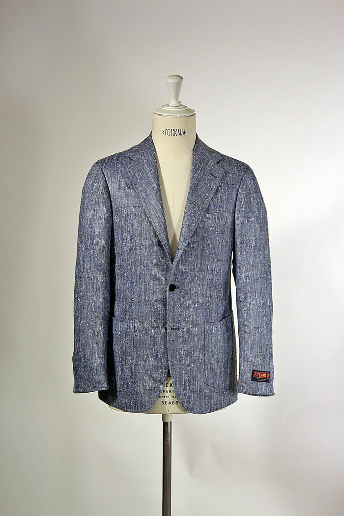 Blue Herringbone Donegal Silk/Wool Jacket